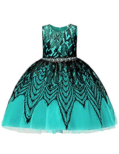 Blevonh Fluffy Dresses for Toddlers Boutique Easter Dress Sleeveless Lace Overlaid Diamond Embellished Waist Trapeze Swing Mesh High Waist Party Costume Turquoise 90(10-12 Months)