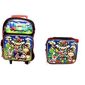 "New 2017 Super Mario 3D Brother Team 16"" Large Rolling/Roller Backpack Kid Boys School Plus Matching Lunch Bag"