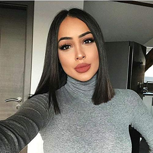 4X4 Lace Closure Short Bob Wigs Silky Straight Human Hair Wigs Middle Part 100% Unprocessed Brazilian Virgin Remy Hair Natural Black Lace Front Wigs For Women(14