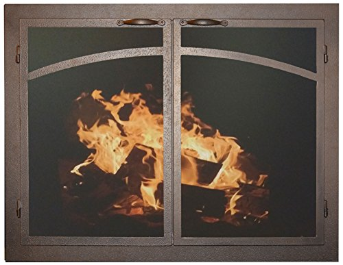 Ironhaus Fireplace Glass Door with Gate Mesh with 2 1/2