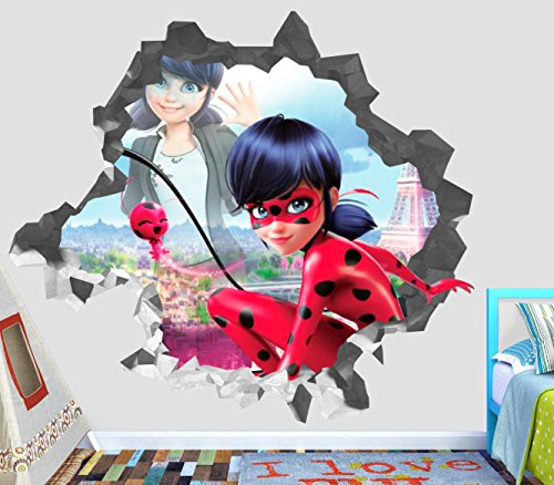 Miraculous Ladybug Kwamis Wall Decal Smashed 3D Sticker Vinyl Decor Mural Kids Movie - Broken Wall - 3D Designs - OP159 (Small (Wide 22