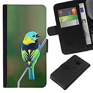 KingStore / Leather Etui en cuir / HTC One M7 / Green Nature Direction Teal