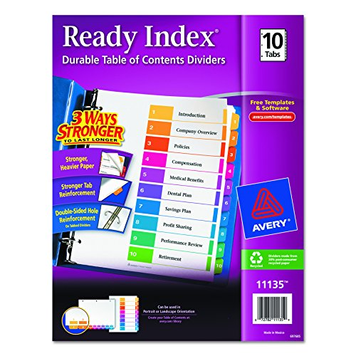 Avery Contents Dividers 10 Tab 11135
