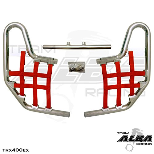 TRX 400EX SPORTRAX (1999-2014) Standard Nerf Bars - Compatible with Honda - Silver Bars - Compatible with Honda - w/Deep Red Net (Honda Nerf Bars)