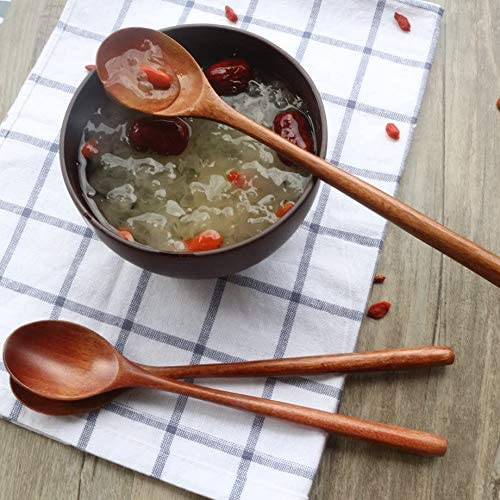 6 Pi/èCes Cuill/èRes Une Soupe en Bois pour Manger en M/éLangeant LAgitation Ustensile de Cuisine Cuill/èRe Une Long Manche Kirmax Cuill/èRes en Bois