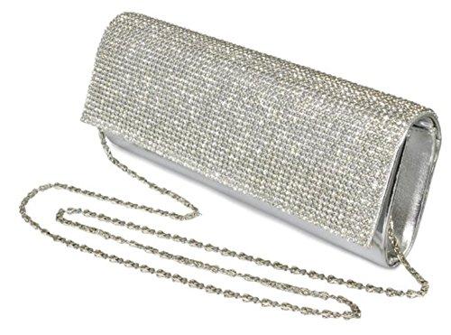 Girly HandBags Nuevo Diamante Moldeada del Bolso de Embrague del Estuche Rígido de Noche Barnizado de Bodas de Diamante Pequeño Plata 1