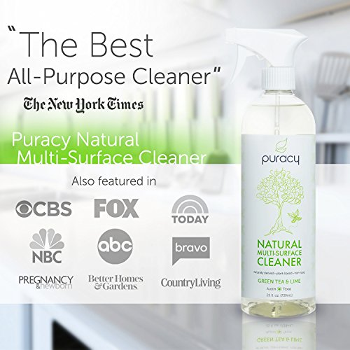 Puracy Natural All Purpose Cleaner, Best Household Multi-Surface Spray, Streak Free on Glass and Stainless Steel, Child and Pet Safe, Green Tea and Lime, 25 Ounce Bottle, (Pack of 2) - 2