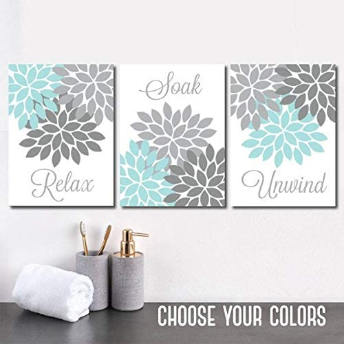 Amazon Com Aqua Gray Bathroom Wall Art Canvas Or Prints Flower Bathroom Pictures Relax Soak Unwind Bathroom Decor Set Of 3 Bath Quotes Wall Decor 8x10 Inch Posters Prints