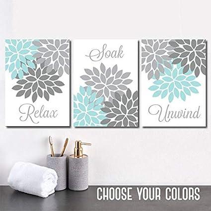 Amazoncom Aqua Gray Bathroom Wall Art Canvas Or Prints Flower