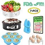 7 PCS Stackable Instant Pot Accessories Set - Vegetable Steamer Basket, Egg Bites Molds, Springform Pan, Egg Steamer Rack and Anti-scald Gloves, Fit 5 / 6 / 8 qt Instapot and Pressure Cooker