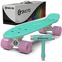Skatro - Mini Cruiser Skateboard. 22x6inch Retro Style Plastic Board Comes Complete