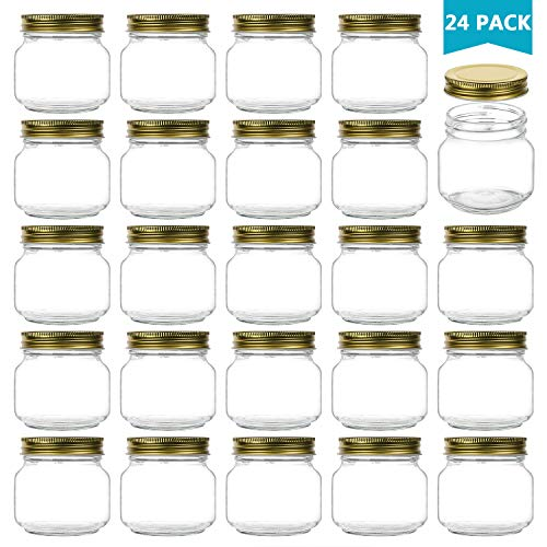 Encheng 8 oz Glass Jars With Lids,Ball Wide Mouth Mason Jars For Storage,Canning Jars For Caviar,Herb,Jelly,Jams,Honey,Dishware Safe,Set Of 24 -