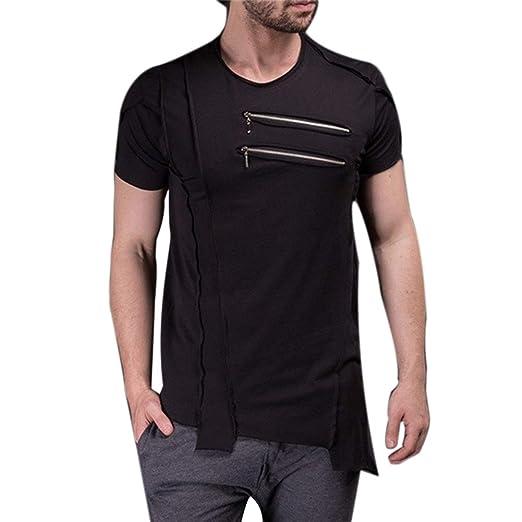 1714ed4ebbfe Everrikle T- Shirts for Men Summer Men Solid Color Decorative Double Zip Short  Sleeve T