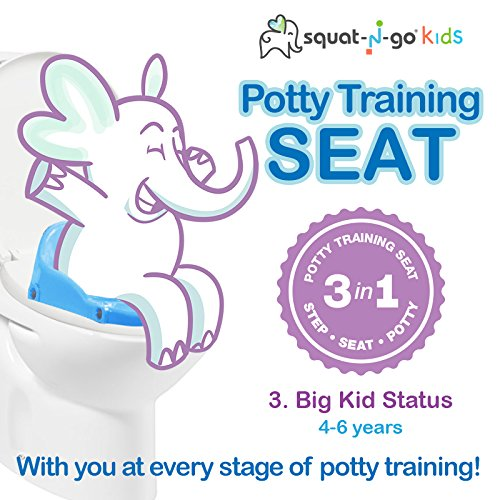 Babyloo Bambino Booster 3-in-1- Collapsible Toilet Training Step Stool for Toddlers Efficient Armrest and Handles Convertible Potty Trainer for All Stages Ages 1-4 White