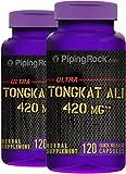 Piping Rock Ultra Tongkat Ali Long Jack 420 mg 2 Bottles x 120 Quick Release Capsules Herbal Supplement