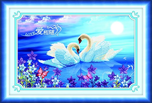 Starlit 71588 - Swan DIY 3D Diamond Painting Rhinestone Embroidery Kit Mosaic Painting Size 76x50cm (30x20inch)