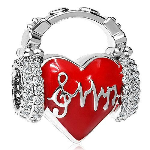 Charmed Craft Heart Love Heartbeat Charms Red Enamel Beads for Snake Chain Bracelets (Music -