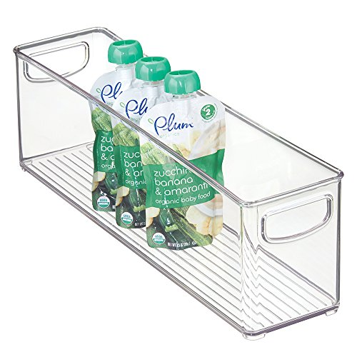 Review Of mDesign Baby Food Storage Organizer Bin for Pouches, Formula, Jars - 16 x 4 x 5, Clear