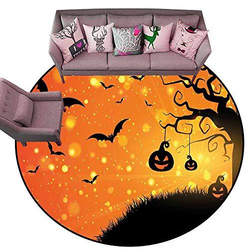Anti-Slip Toilet Doormat Home Decor Halloween,Magical Fantastic Evil Night Icons Swirled Branches Haunted Forest Hill,Orange Yellow Black Diameter 48