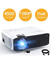 """Projector APEMAN Portable Mini Projector 4500 Lumens Support 1080P Max 180"""" Display LCD Home Cinema Projector 50000 Hours LED Life HDMI/VGA/USB/SD/AV Input Chromecast Compatible(White)"""