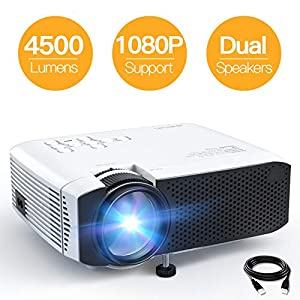 APEMAN Projector Portable Mini Projector 4500 Lumens Support 1080P Max 180″ Display LCD Home Cinema Projector 50000 Hours LED Life HDMI/VGA/USB/SD/AV Input Chromecast Compatible(White)