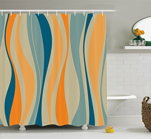 Ambesonne Vintage Shower Curtain, Retro Vibrant Stripes Funky Lines Design Patterns Abstract Print, Fabric Bathroom Decor Set with Hooks, 70 inches, Marigold Blue