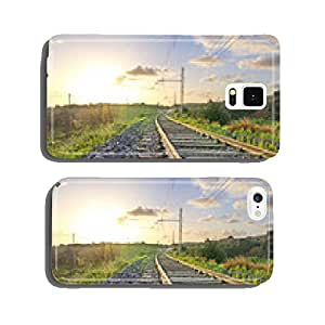 Railway at sunset. Low angle view cell phone cover case iPhone6 Plus