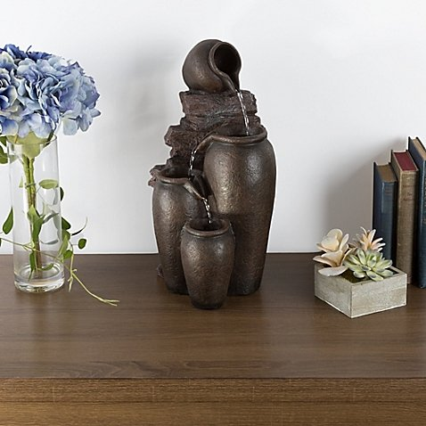 Home&Garden Rustic Pot Tabletop Fountain.