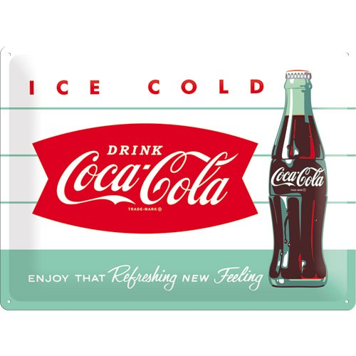 Coca Cola Ice Cold Bottle large embossed steel sign (na 4030)