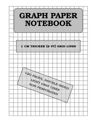 """Download Graph Paper Notebook: 10 mm thicker (2pt) light gray grid lines (metric, 120 pages): double-sided, non-perforated, perfect binding. 8.5"""" x 11"""" pdf"""