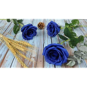 Royal Navy Blue Paper Rose Unique Anniversary Gift For Her Handmade Crepe Paper Flowers for Valentine Birthday Mother Day, Single Long Stem Real Looking, 01 Flower 5