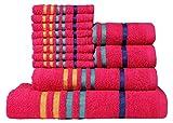 CASA COPENHAGEN Exotic Cotton 475 GSM 12 Pieces Designer Bath, Hand & Washcloth Towels Gift Set - Hot Pink