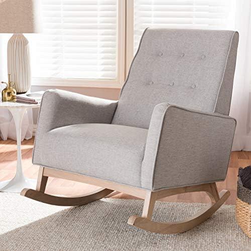 "Baxton Studio Marlena Mid-Century Modern Greyish Beige Fabric Upholstered Whitewash Wood Rocking Chair/Mid-Century/Beige/Medium Wood/Fabric Polyester 100 ""/Rubber Wood/Foam"