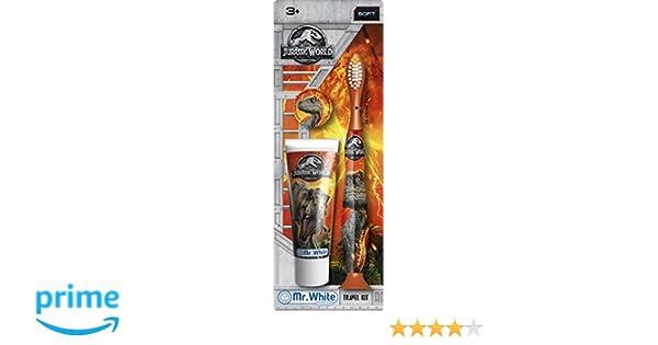 Mr White - Travel Kit Jurassic World Color Kit compuesto de cepillo de dientes manual con ventosa y pasta de dientes 25 ml: Amazon.es: Salud y cuidado ...