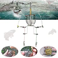 hAohAnwuyg Fishing Feeder,Multi Functional Automatic Trap Spring Cage Hook Fishing Feeder Tackle Launcher