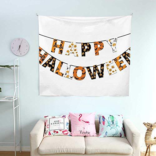ParadiseDecor Halloween Bedroom Tapestry Happy Halloween Banner Greetings Pumpkins Skull Cross Bones Bats Pennant Tapestry Throwing Blanket 39W x 39L InchOrange Black White
