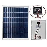 ECO-WORTHY 20W 12V Solar Panel Kit: 20 Watt Polycrystalline Solar Panel & Battery Clips & 3A Charge Controller