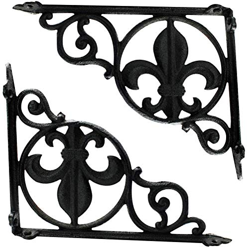- (1-Pair) Decorative Shelf Brackets - Cast Iron Fleur-de-lis Pattern L Brackets for Shelves 9.375-inch Deep