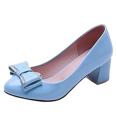 Mee Shoes Damen Chunky Heels mit Schleifen Runde Pumps (34, Blau)
