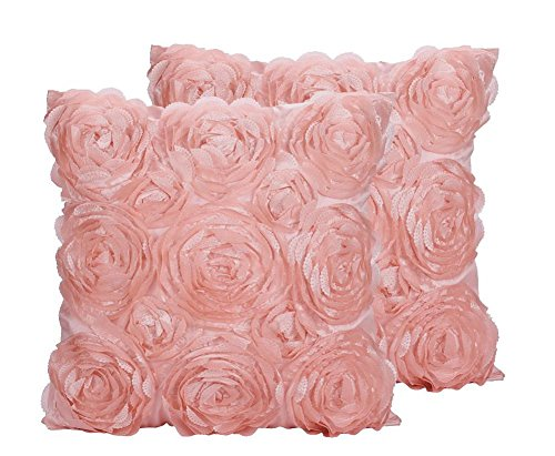 SeptCity Decorative Throw Pillow Covers for Couch Cushion Case, Romantic Love Satin Rose Wedding Party Home Decor, Home Gift (Set of 2)- #Pink (Rose Pink Pillow Throw)