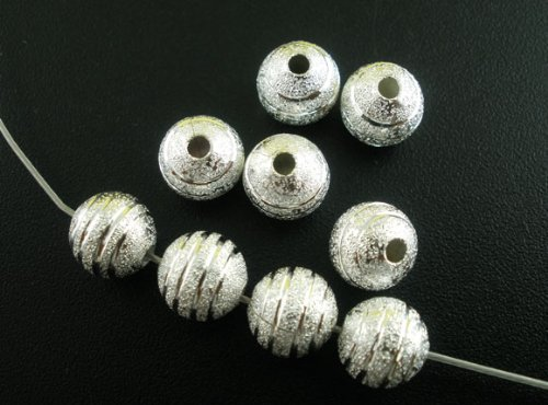 (80pc Silver Plated Stardust Spacer Beads 8mm Beading Supplies [Office Product])