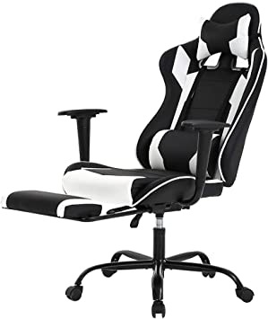Amazon Com Racing Gaming Chair High Back Pu Leather Home Office Chair Desk Computer Chair Ergonomic Executive Swivel Rolling Chair With Arms Lumbar Support For Women Men White Furniture Decor