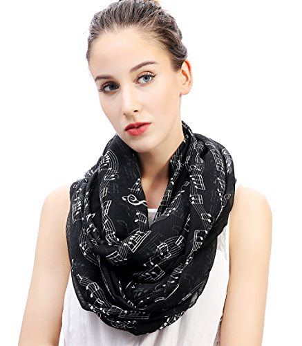 Lina & Lily Womens Musical Notes Print Infinity Loop Scarf (Black)