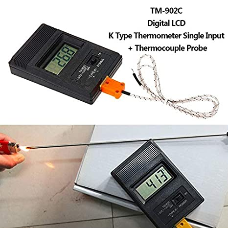 Real Industrial LCD Digital Thermometer Thermo Detector 750degree Centigrade And Thermocouple Probe For Factory Use TM-902C - - Amazon.com