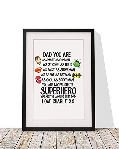 Personalized Fathers Day Wall Art Gift - Superhero Strong As Hulk - Framed Print with Mount - Present For Dad For Birthday Or Any Occasion - 12 x 10 Inch