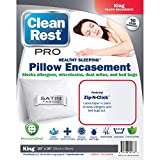 CleanRest Pro Waterproof, Allergy and Bed Bug Blocking, Polyester Zip-N-Click Zipper Lock Pillow Protector, King (20 x 40 inches), White
