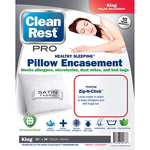 Clean Rest Pro Waterproof, Allergy and Bed Bug Blocking Pillow Encasement, King