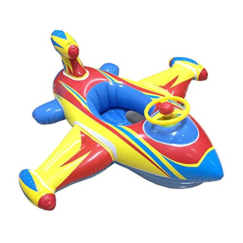 Topwon Inflatable Airplane Baby Kids Toddler Infant Swimming Float Seat Boat Pool Ring Age 1-4 Airplane Floats