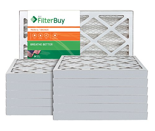AFB Bronze MERV 6 20x30x2 Pleated AC Furnace Air Filter. Pack of 12 Filters. 100% produced in the USA. by FilterBuy