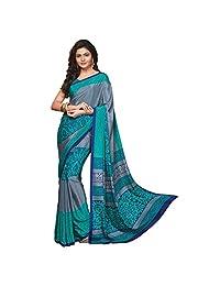Triveni Women's Indian Grey Printed Crape Saree Sari